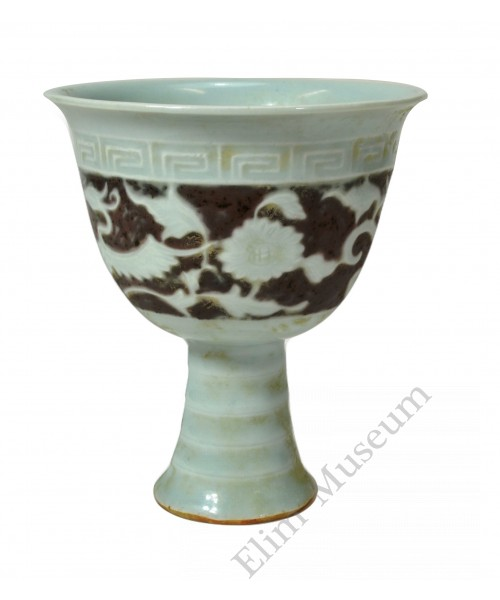 1216 An underglaze-red stem cup with geese and reed decor
