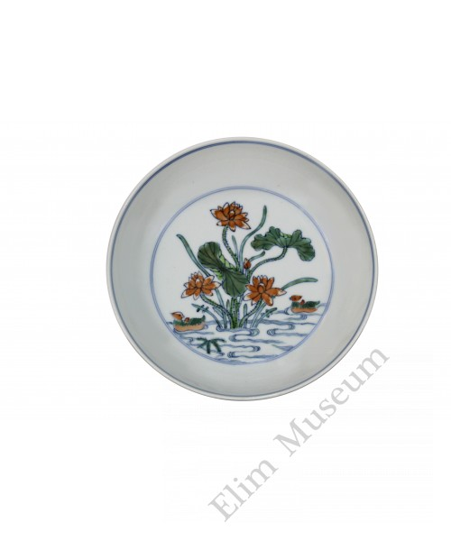 1217 A Doucai dish with pond scene of ducks in lotus