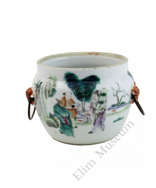 1008   A Tong-Zhi Small Famille Rose porridge Pot