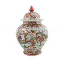 1240 Ming Wanli period Wucai worriers covered jar