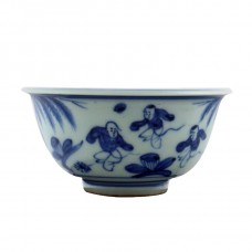 """1252 Ming Jia-Jing Period B&W bowl with """"soccer game"""""""
