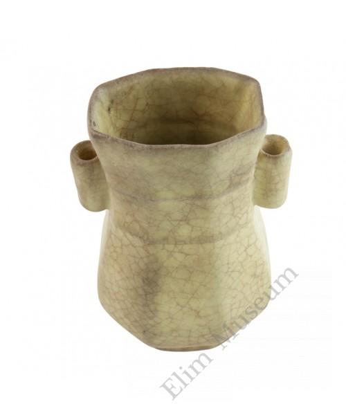 1259  Song Dynasty Ge-Ware octagonal handled vase