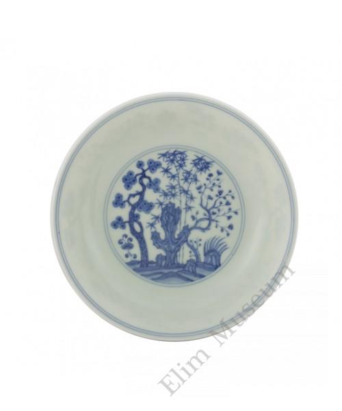 """1262 Ming Cheng-Hua period """"three friends""""  B&W dish"""