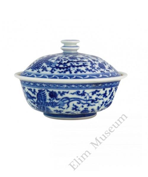 1308  A Ming Cheng-Hua B&W pheonex lidded bowl
