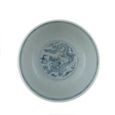 1310 A Ming  B&W scrolling chrysanths motif bowl