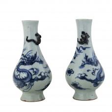 1311 A pair of B&W dragon pattern vases
