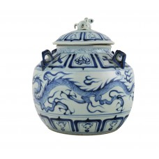 1313 A Yuan B&W dragon four handles covered vase
