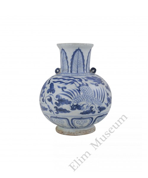 1314  A Yuan Dynasty b&w water jar with phoenix and lotus