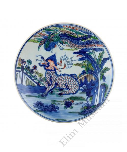 1316 A Wucai high stem Qilin bowl