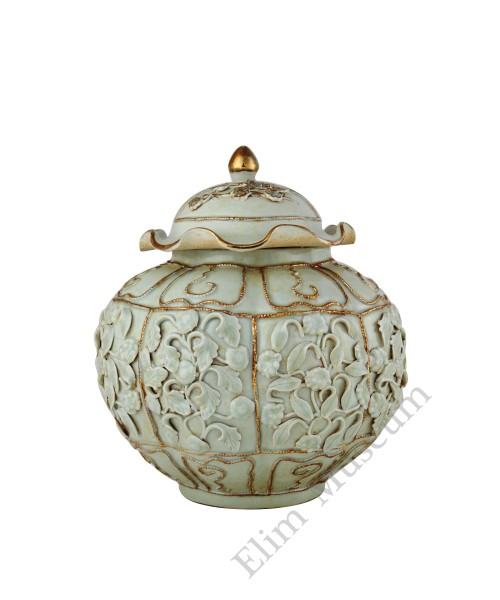 1318 A Yuan Egg-White glaze lidded jar with molded petals