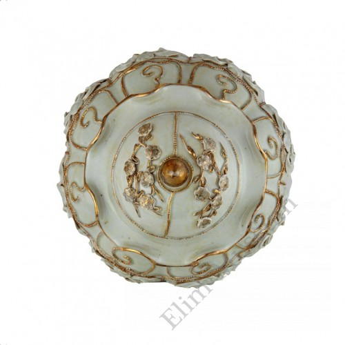 1318 A Yuan Egg-White glaze lidded jar with molded petals