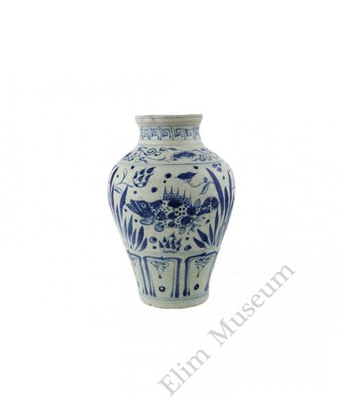1319 A Yuan Dynasty B&W fish and lotus motif vase