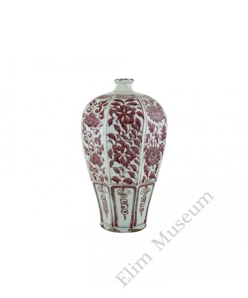1321  A Yuan  underglaze red Octagonal vase