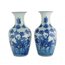 """1328 A pair of Qing Dynasty B&W """"boy on qilin"""" vases"""