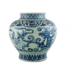 """1335 A Ming Dynasty B&W """"friend-visiting"""" jar"""