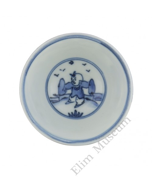 1340 A Ming  B&W high stem cup of playing boys