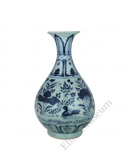 1344 A Yuan B&W fish-lotus Yuhuchun vase