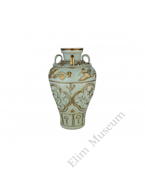 1345 A Yuan dynasty egg-white four handles vase