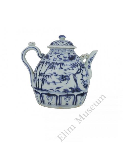 """1349 A Yuan  B&W """"three-friends""""teapot"""
