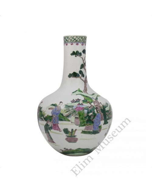 "1038   A Wucai globular vase with a scene of "" court litigation"""
