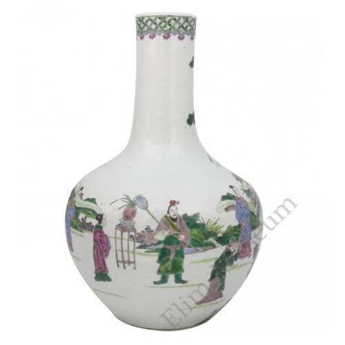 "1038   A Wucai globular vase with a scene of "" court litigation"""