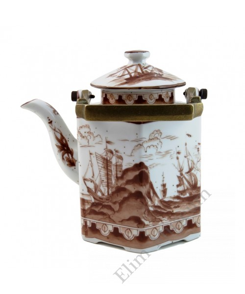 1044  A Brown & White hexagonal shape teapot