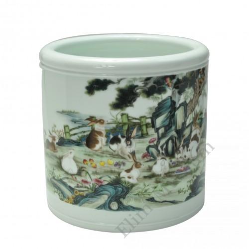 "1052  A Yong-Zheng falancai brushpot with ""Rabbits"""