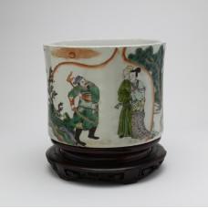 "1053 A Wucai brush pot of ""The Western Chamber"""