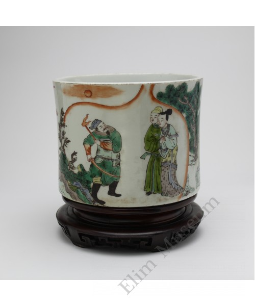 "1053 A Wucai brush pot of ""The Western Chamber"""