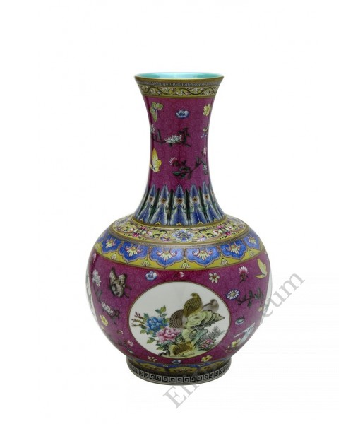 1057  Qianlong Yangcai mallet  vases with quails & flowers