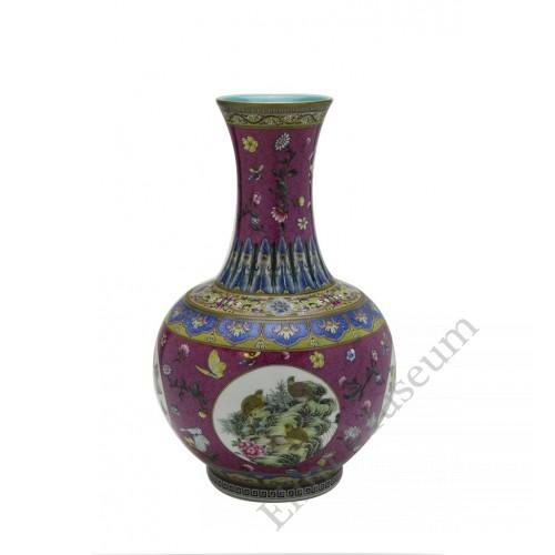 1057  Qianlong Yangcai mallet  vases with quails & flowers (2)