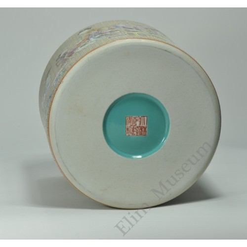 """1058  A  Yangcai """" Four concubines and sons""""  brush pot"""