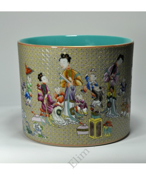"1058  A  Yangcai "" Four concubines and sons""  brush pot"