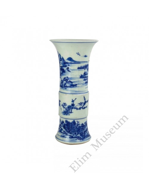 1059  A Yong-Zheng B&W  vase  with landscape view