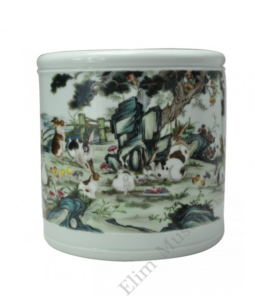 "1052  A Yong-Zheng falancai brushpot with ""Rabbits"""