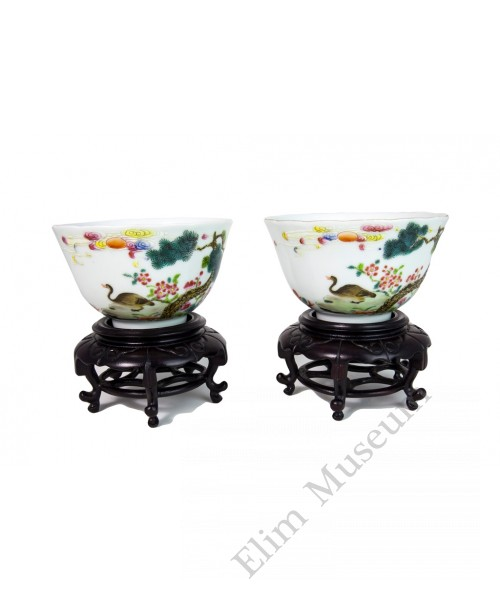 1004   A Pair Jia-Qing Period Famille Rose Bowls
