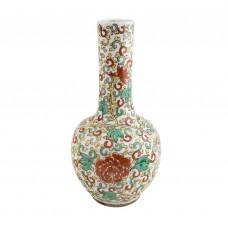 1074  A Kang-Xi Sancai long neck vase with peony motif