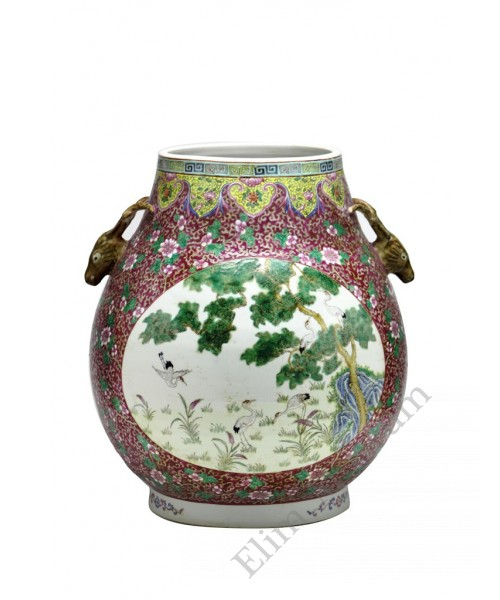 "1078 Qing Dynasty  Fengcai  windowed ""Crans&Deers "" vase"