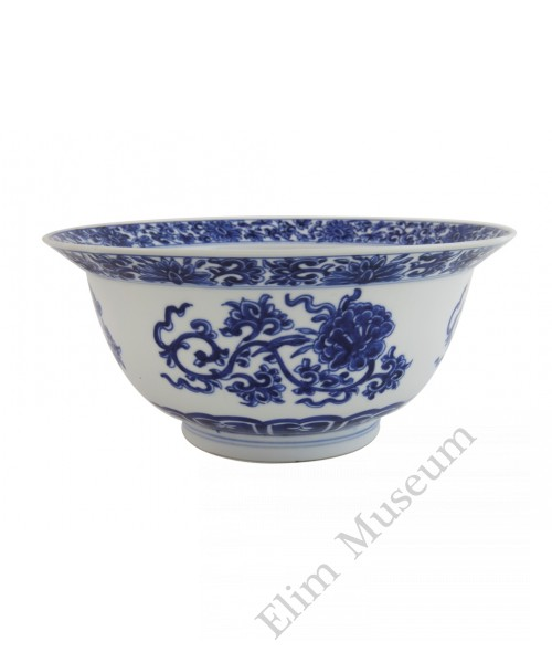 1083  A Kang-Xi  blue & white scrolling lotus bowl