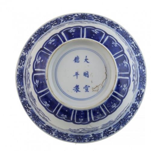 1083  A Kang-Xi  blue & white scrolling lotus bowl