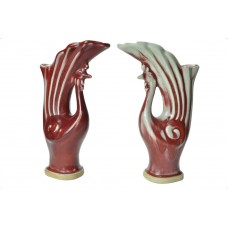 1089 A pair of  Langyao peacock brush holders