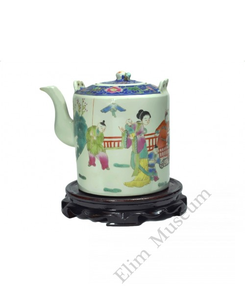 1090  A rose famille verte tea pot with playing  mother and children