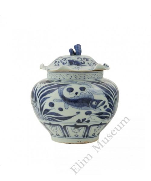 1317   A Yuan Dynasty lidded B&W Jar with fishes & pond plants
