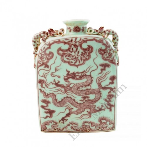 1236   An Under graze Red flask with Dragon and Lotus