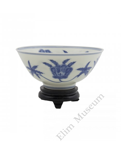 1271   A Cheng-Hua B&W bowl of mallow flowers in and out